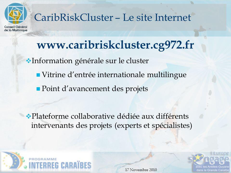 CaribRiskCluster – Le site Internet