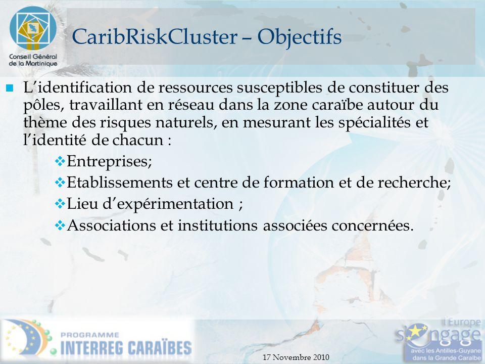 CaribRiskCluster – Objectifs