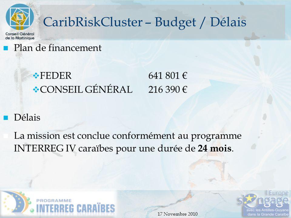CaribRiskCluster – Budget / Délais