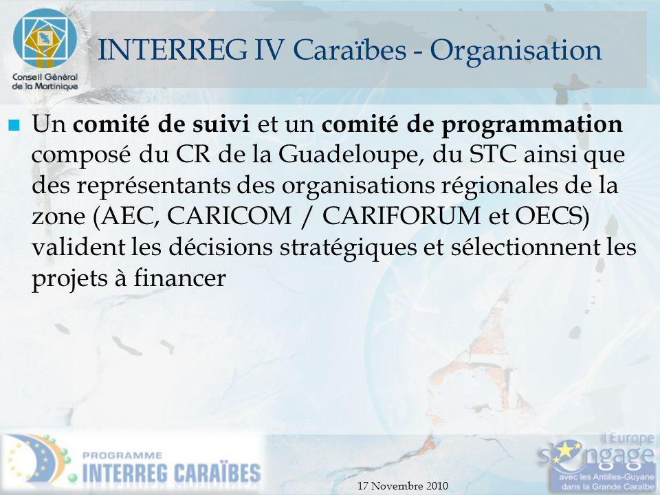 INTERREG IV Caraïbes - Organisation