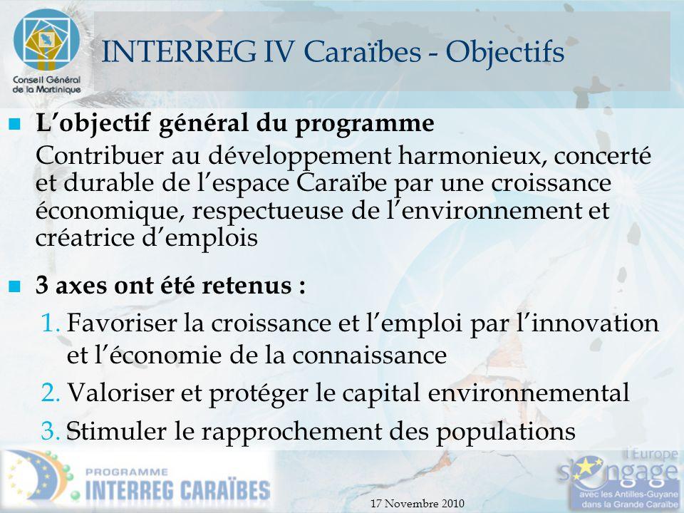 INTERREG IV Caraïbes - Objectifs
