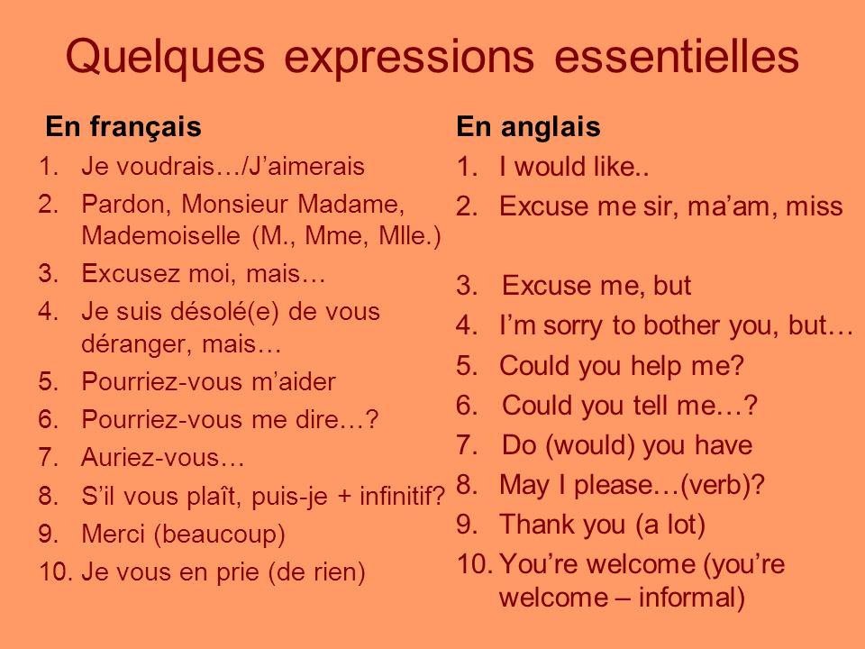 Quelques expressions essentielles