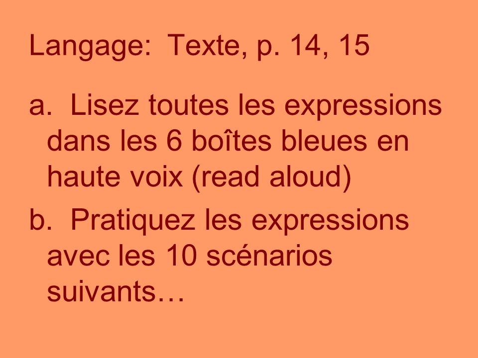 Langage: Texte, p. 14, 15