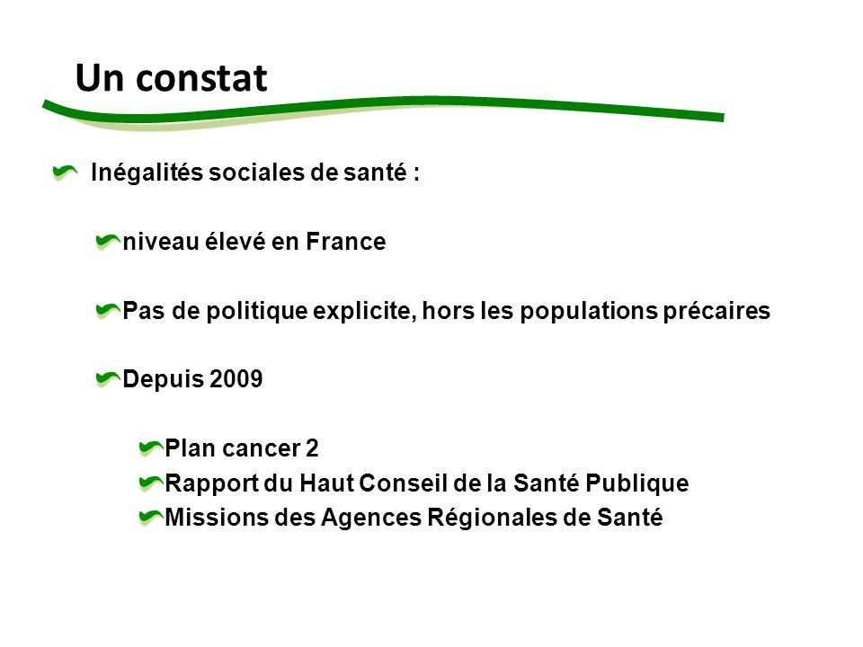 Un constat Inégalités sociales de santé : niveau élevé en France