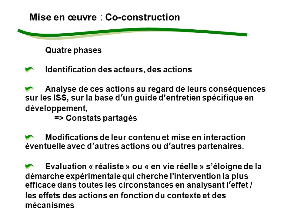 Mise en œuvre : Co-construction