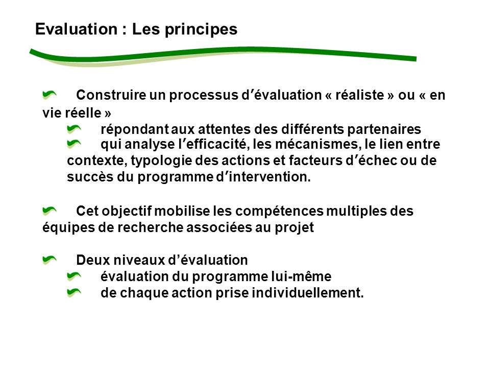 Evaluation : Les principes