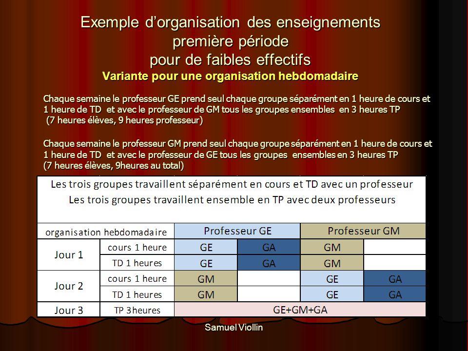 Exemple d'organisation des enseignements première période pour de faibles effectifs Variante pour une organisation hebdomadaire
