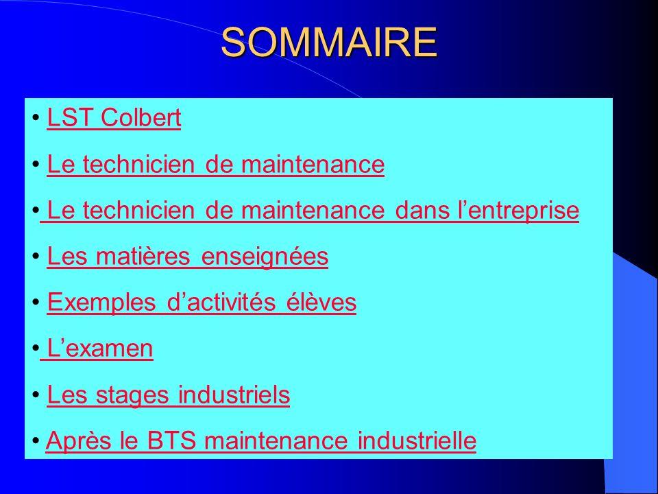 SOMMAIRE LST Colbert Le technicien de maintenance