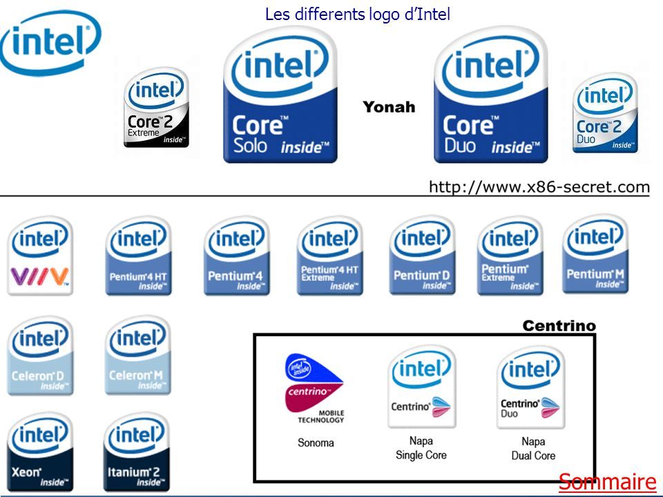 Les differents logo d'Intel