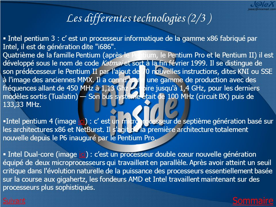 Les differentes technologies (2/3 )