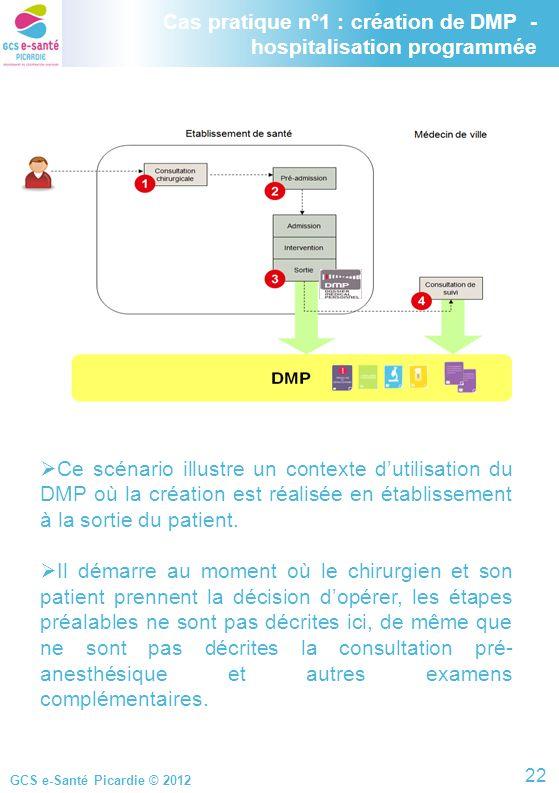 Cas pratique n°1 : création de DMP - hospitalisation programmée