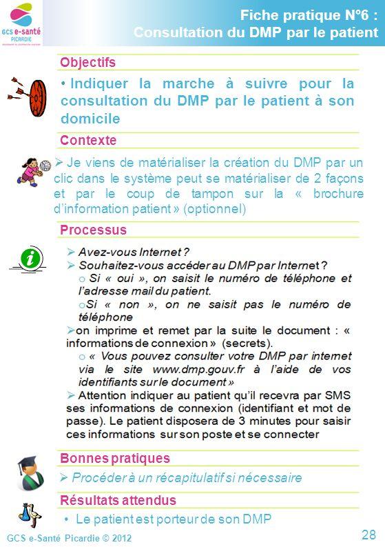 Fiche pratique N°6 : Consultation du DMP par le patient