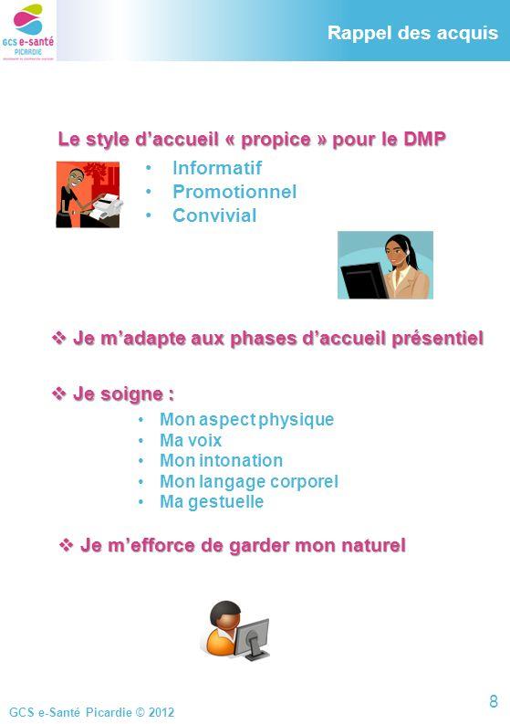 Rappel des acquis Le style d'accueil « propice » pour le DMP