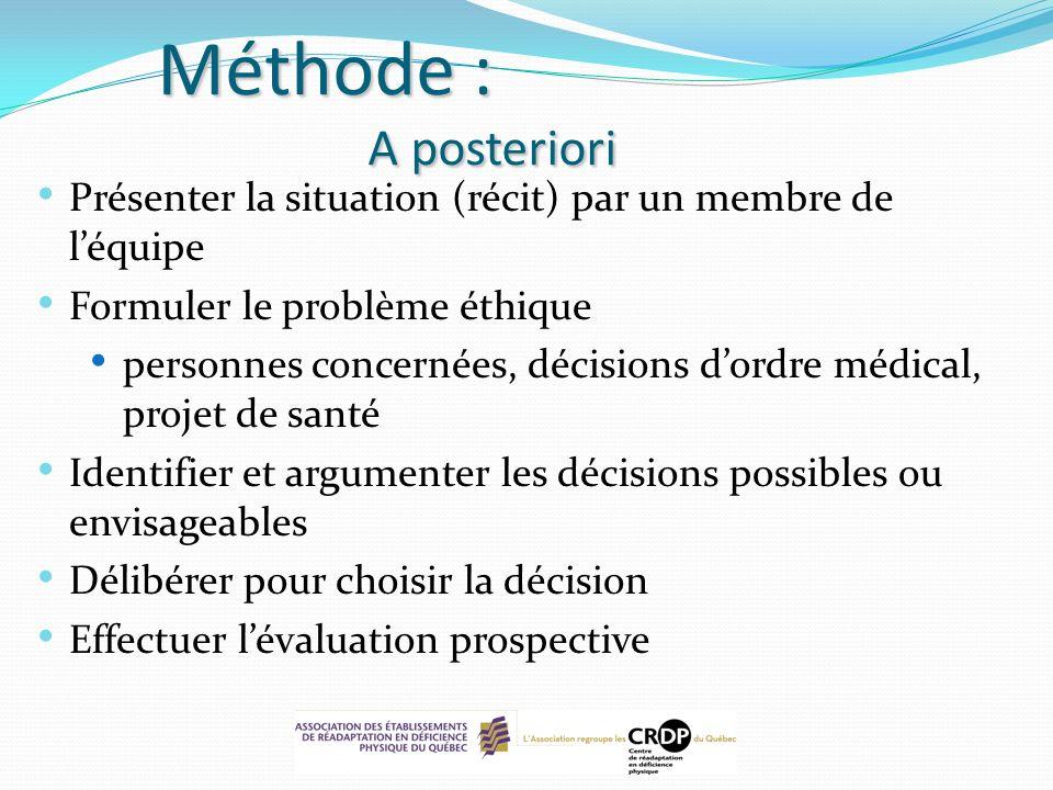 Méthode : A posteriori Présenter la situation (récit) par un membre de l'équipe. Formuler le problème éthique.