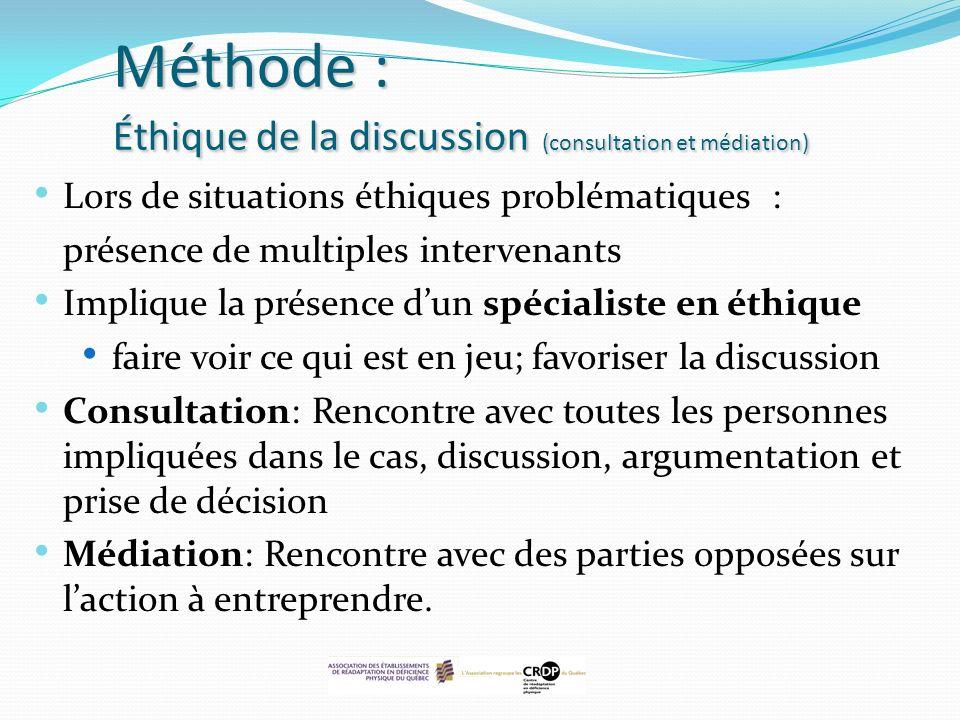 Méthode : Éthique de la discussion (consultation et médiation)