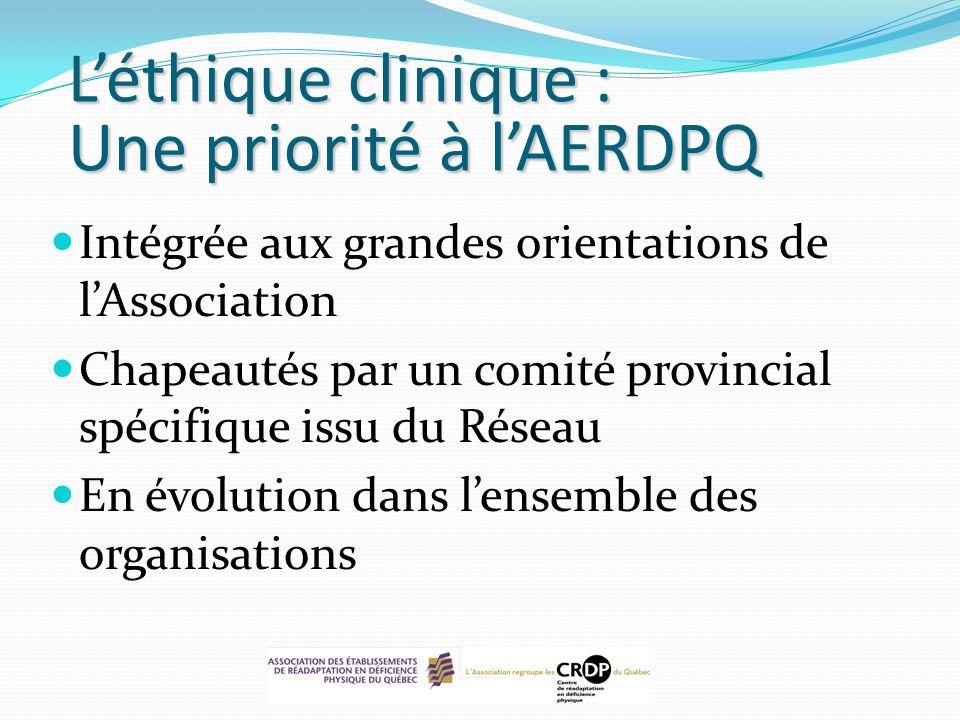 L'éthique clinique : Une priorité à l'AERDPQ