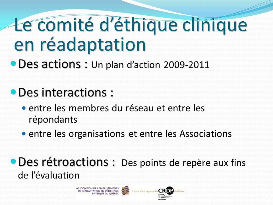 Le comité d'éthique clinique en réadaptation