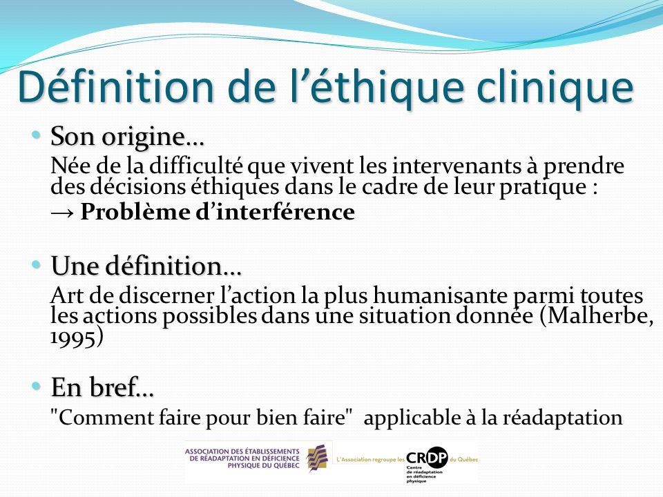 Définition de l'éthique clinique