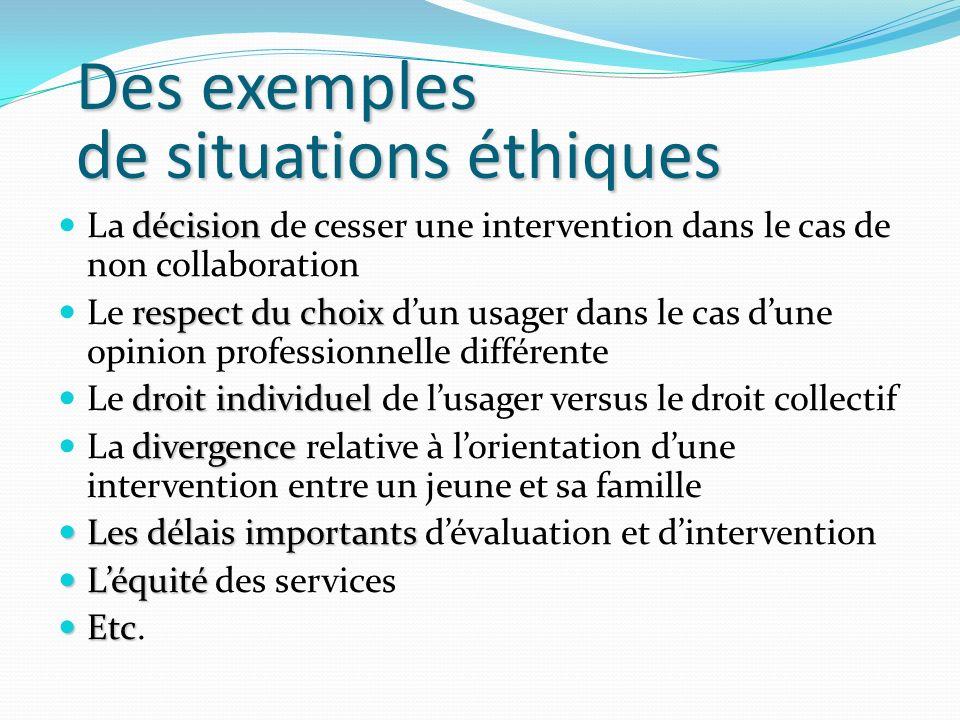 Des exemples de situations éthiques