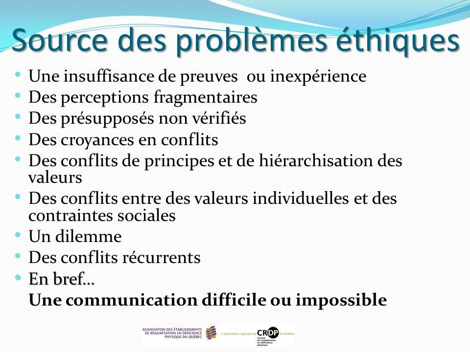 Source des problèmes éthiques