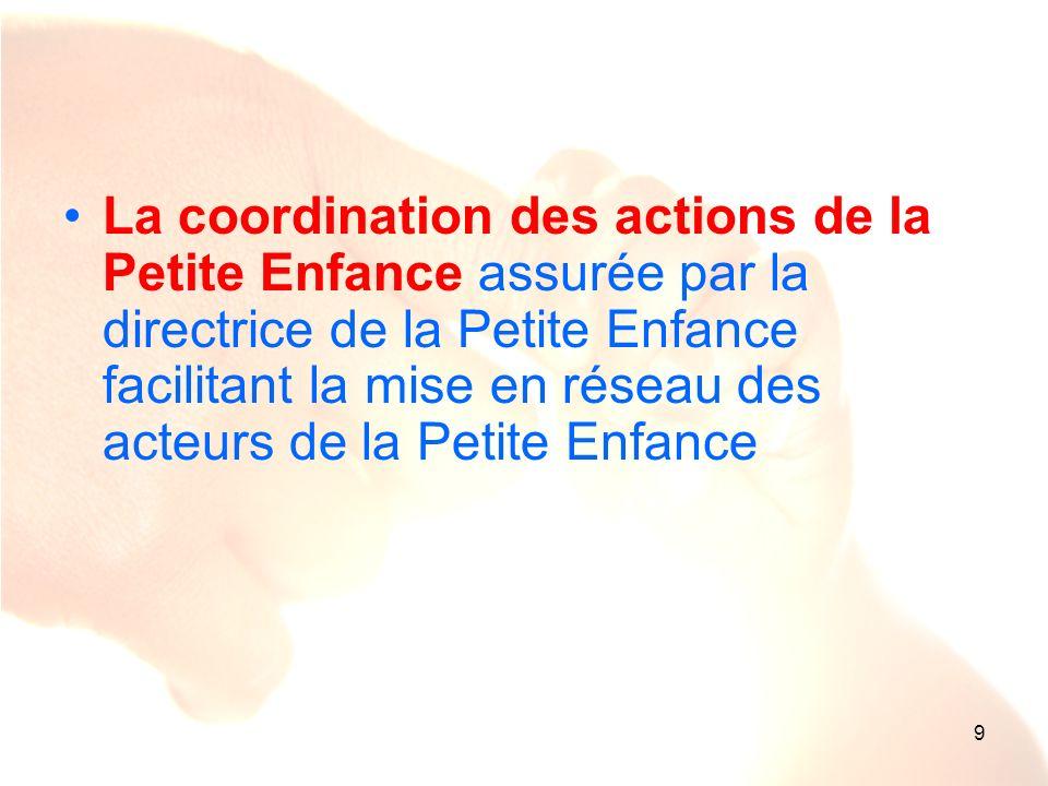 La coordination des actions de la Petite Enfance assurée par la directrice de la Petite Enfance facilitant la mise en réseau des acteurs de la Petite Enfance