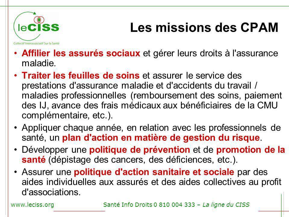 Les missions des CPAM Affilier les assurés sociaux et gérer leurs droits à l assurance maladie.
