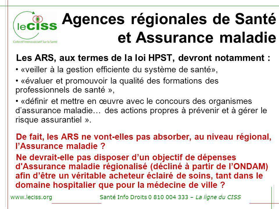 Agences régionales de Santé et Assurance maladie