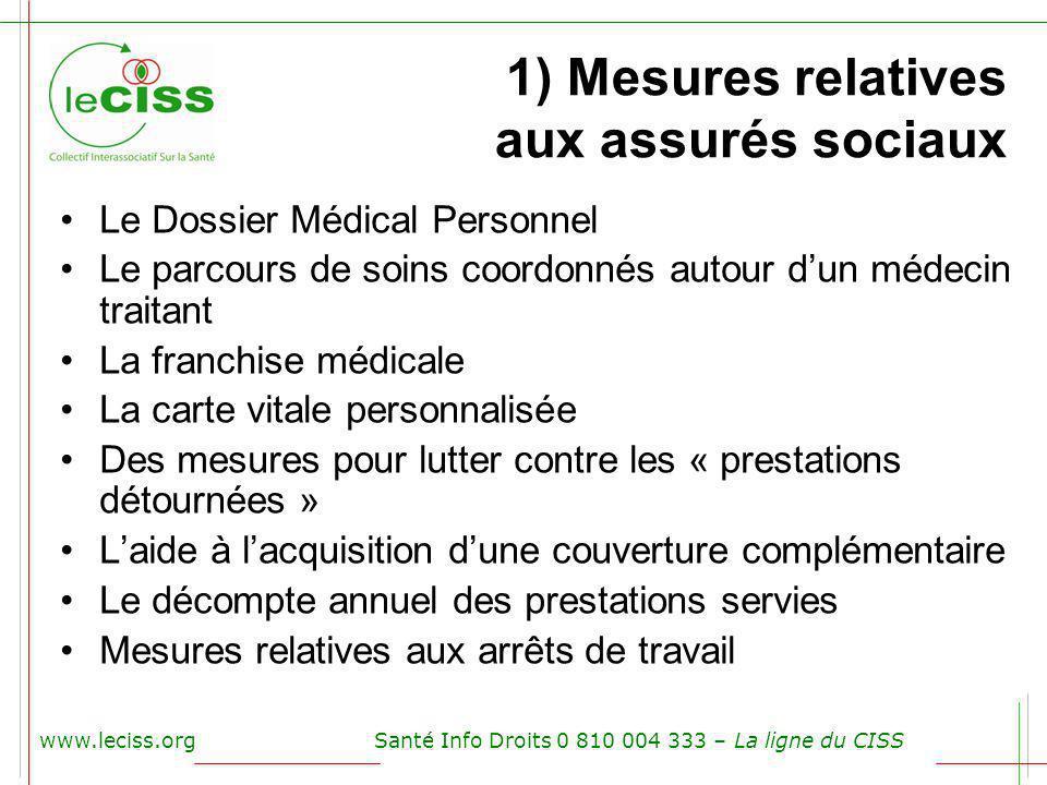 1) Mesures relatives aux assurés sociaux