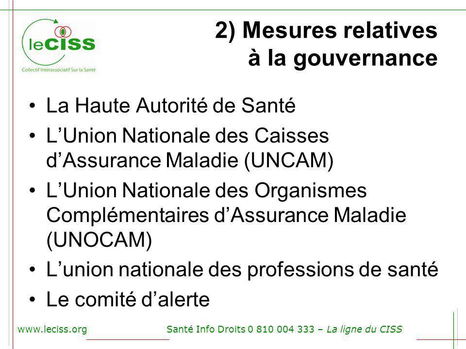 2) Mesures relatives à la gouvernance