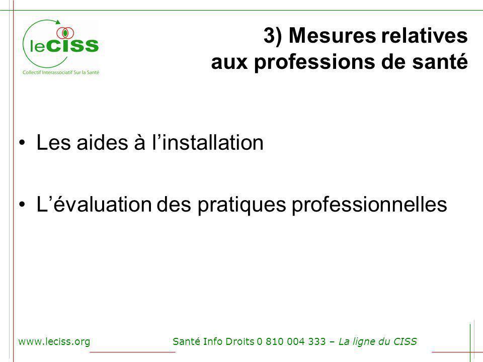3) Mesures relatives aux professions de santé