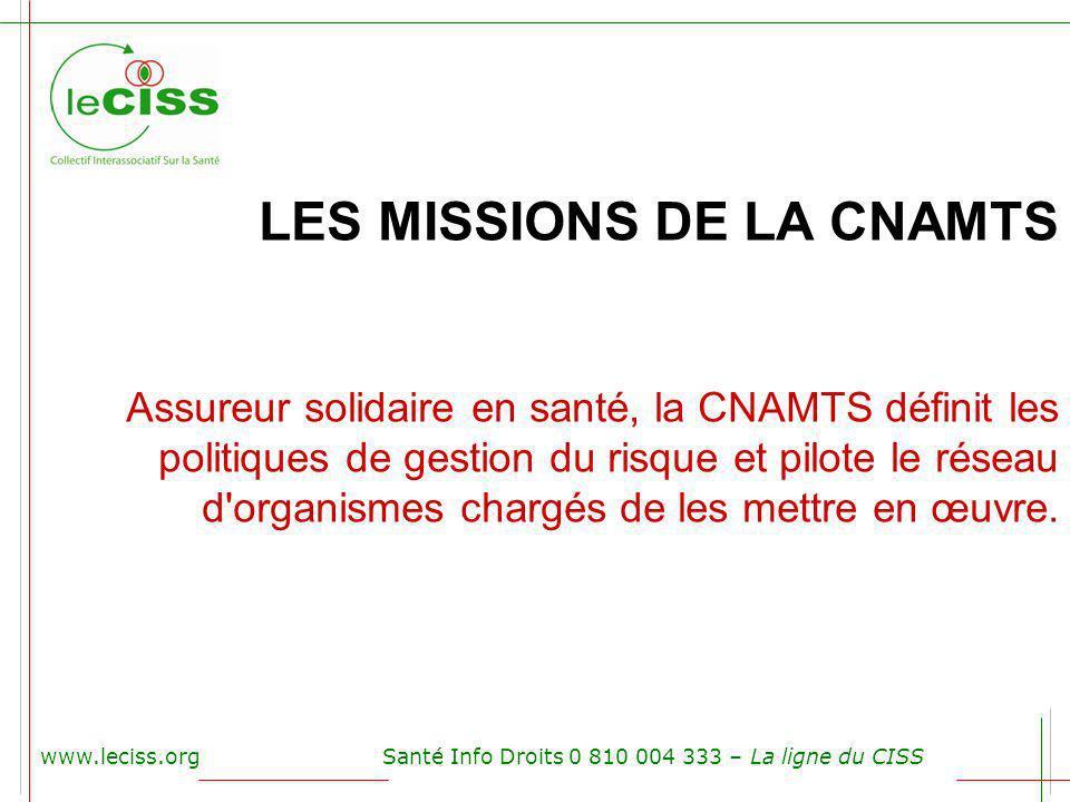 LES MISSIONS DE LA CNAMTS