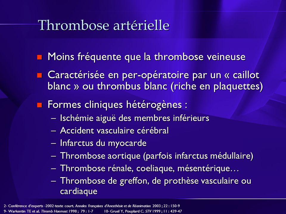 Thrombose artérielle Moins fréquente que la thrombose veineuse
