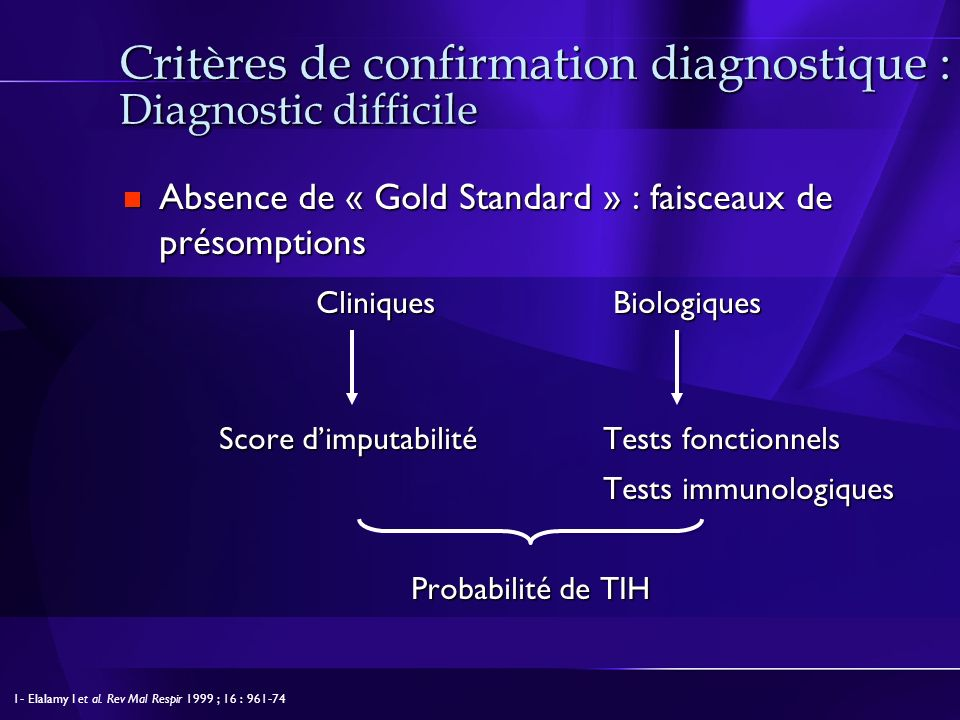 Critères de confirmation diagnostique : Diagnostic difficile