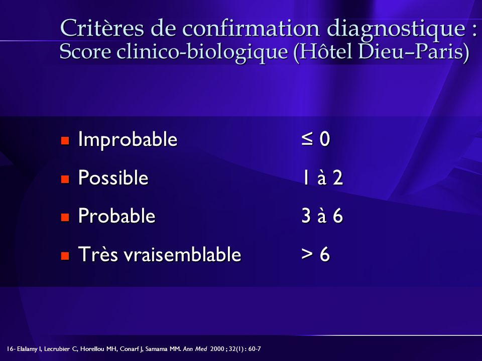 Critères de confirmation diagnostique : Score clinico-biologique (Hôtel Dieu–Paris)