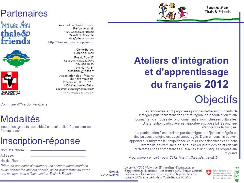 Objectifs Partenaires Ateliers d'intégration et d'apprentissage