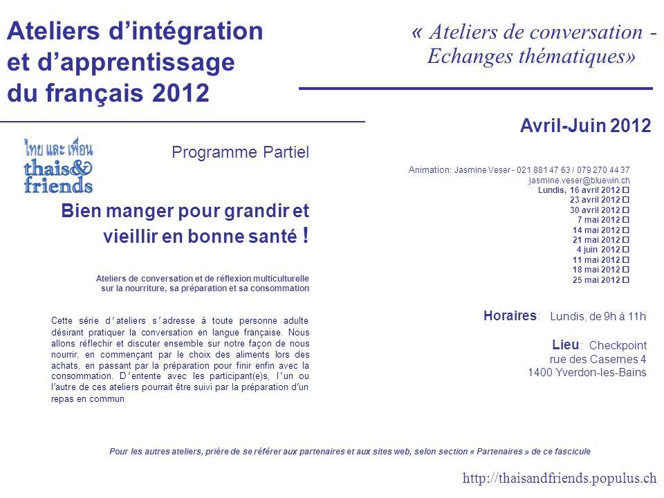Ateliers d'intégration et d'apprentissage du français 2012