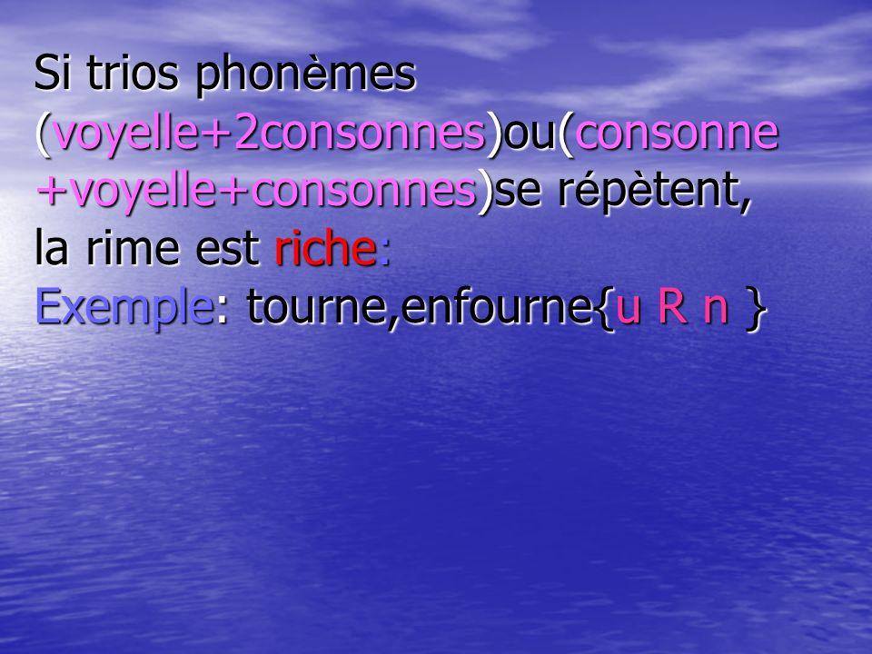 Si trios phonèmes (voyelle+2consonnes)ou(consonne+voyelle+consonnes)se répètent, la rime est riche: Exemple: tourne,enfourne{u R n }