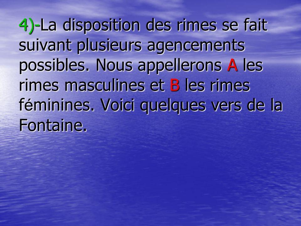 4)-La disposition des rimes se fait suivant plusieurs agencements possibles.
