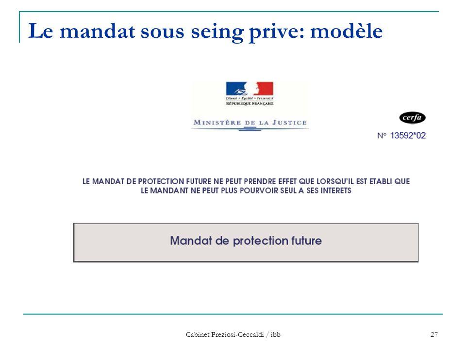 Le mandat sous seing prive: modèle