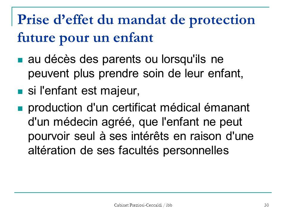 Prise d'effet du mandat de protection future pour un enfant