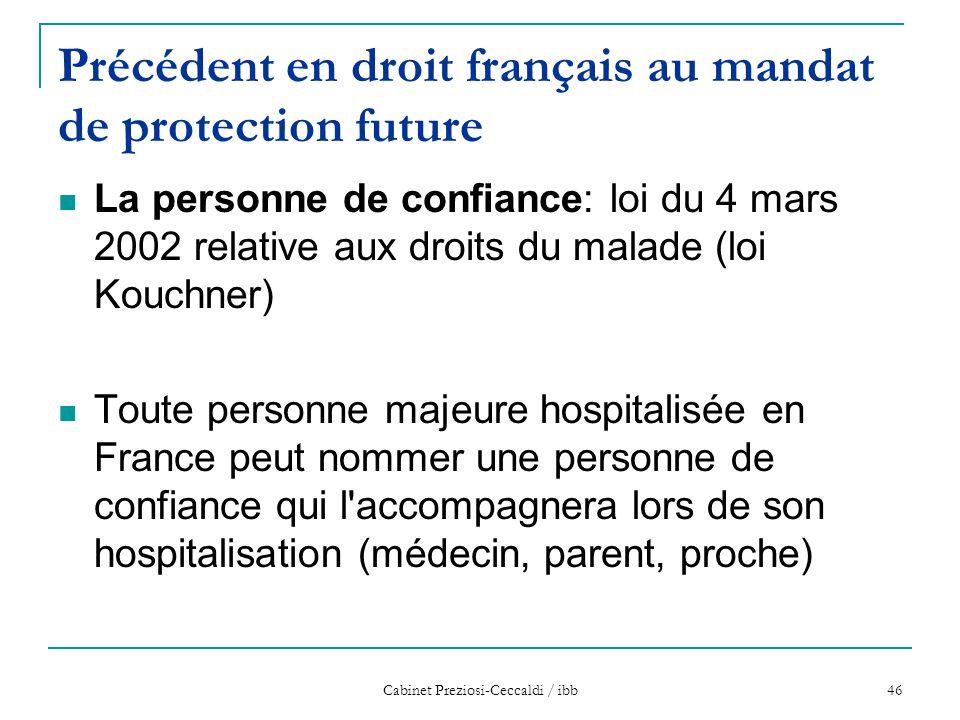 Précédent en droit français au mandat de protection future
