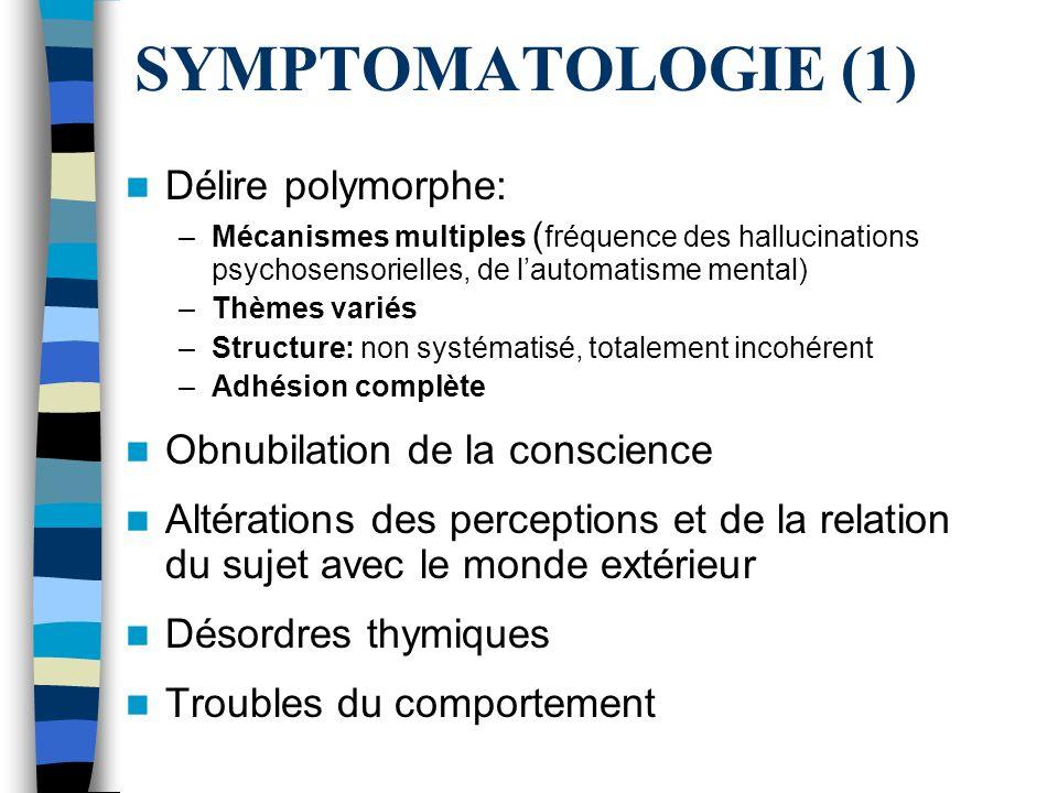 SYMPTOMATOLOGIE (1) Délire polymorphe: Obnubilation de la conscience