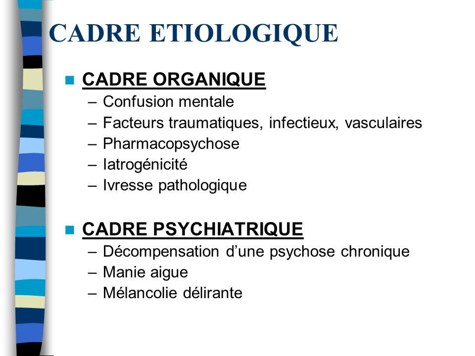 CADRE ETIOLOGIQUE CADRE ORGANIQUE CADRE PSYCHIATRIQUE