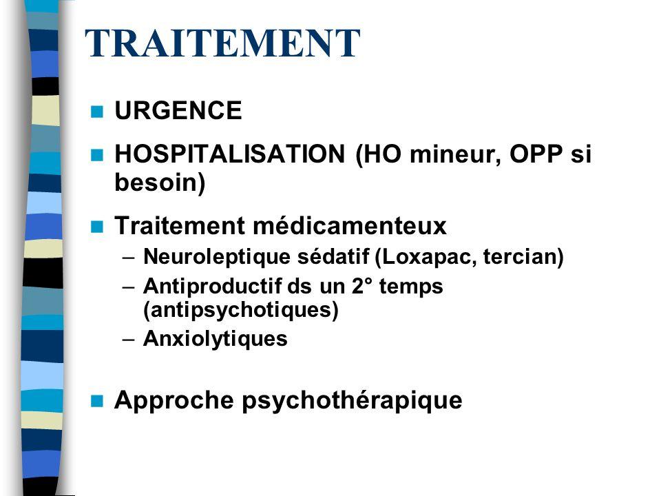 TRAITEMENT URGENCE HOSPITALISATION (HO mineur, OPP si besoin)