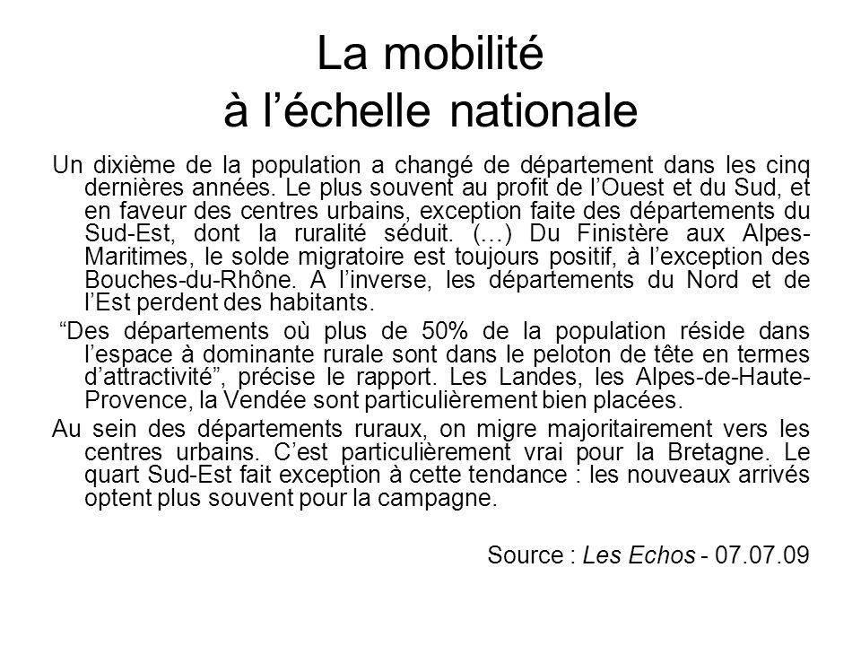 La mobilité à l'échelle nationale