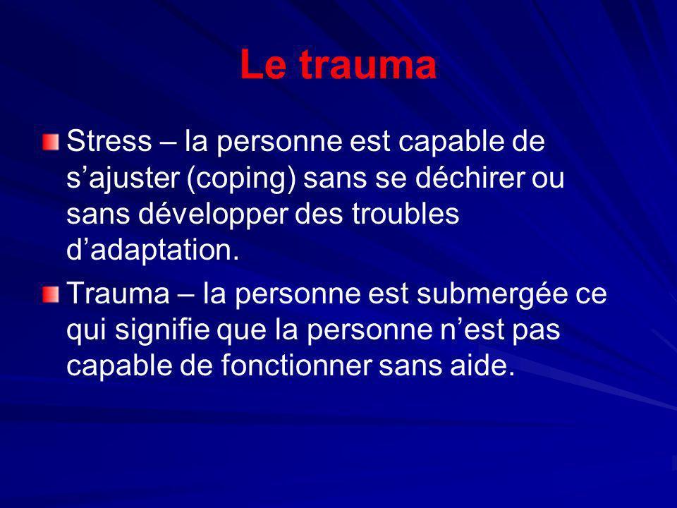 Le traumaStress – la personne est capable de s'ajuster (coping) sans se déchirer ou sans développer des troubles d'adaptation.