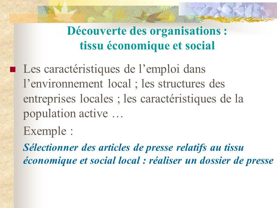 Découverte des organisations : tissu économique et social