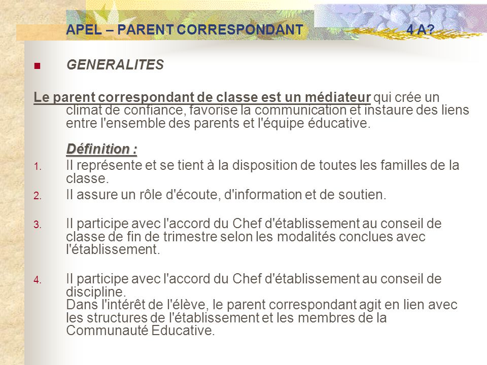 APEL – PARENT CORRESPONDANT 4 A