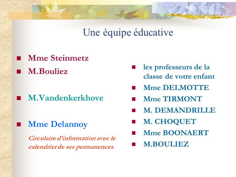 Une équipe éducative Mme Steinmetz M.Bouliez M.Vandenkerkhove