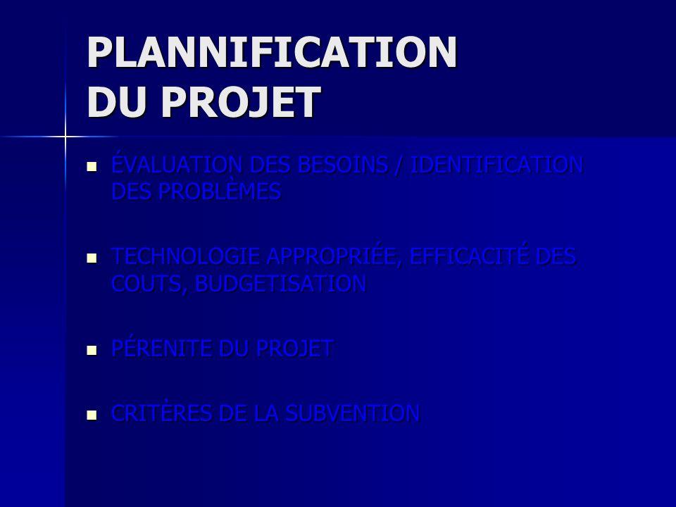 PLANNIFICATION DU PROJET